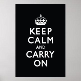 黒いKeep Calm and Carry On ポスター
