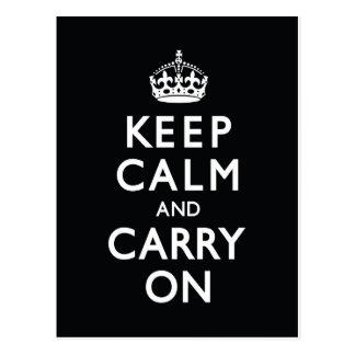黒いKeep Calm and Carry On ポストカード