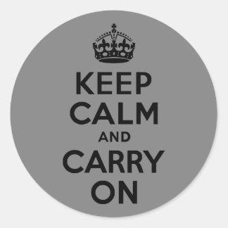 黒いKeep Calm and Carry On ラウンドシール