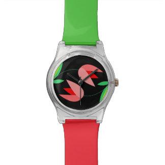 黒いMay28thの腕時計のピンクのチューリップPatten 腕時計