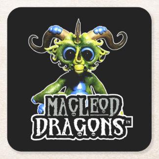 黒いMDの緑ドラゴン スクエアペーパーコースター
