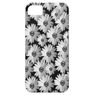 黒いnの白いデイジー iPhone SE/5/5s ケース