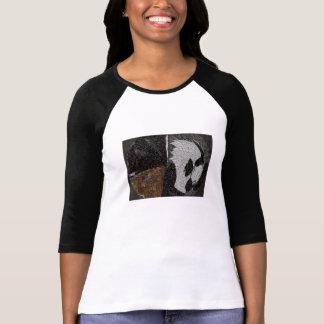 黒いnの白の袖 tシャツ