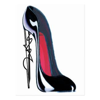黒いsteampunkのスタイルのかかとの小剣の靴の芸術 ポストカード