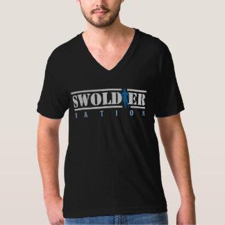 黒いSwoldierの国家のV首 Tシャツ