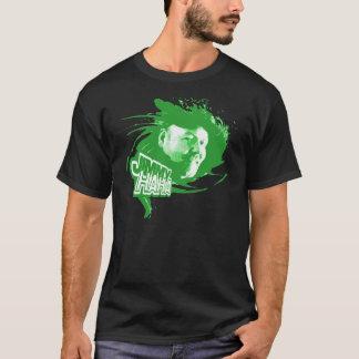 黒いTのジミーハハのしぶきの緑 Tシャツ
