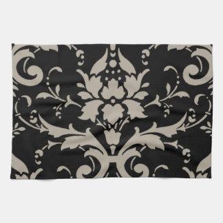 黒いToweのエレガントなヴィンテージのモダンな銀製のダマスク織 キッチンタオル