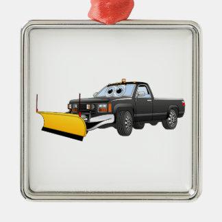 黒いYはトラックの除雪機の漫画を取ります メタルオーナメント