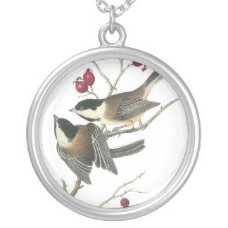 黒おおわれた《鳥》アメリカゴガラ、ジョンAudubon シルバープレートネックレス