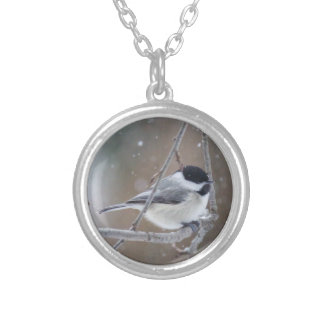 黒おおわれた《鳥》アメリカゴガラ-鳴き鳥 シルバープレートネックレス