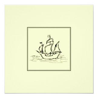 黒およびクリーム。 高い船。 帆船 カード