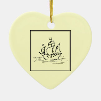 黒およびクリーム。 高い船。 帆船 セラミックオーナメント
