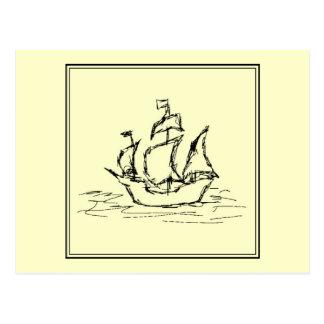 黒およびクリーム。 高い船。 帆船 ポストカード