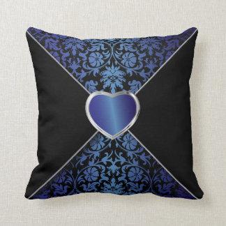 黒およびサファイアの青のエレガントな花柄 クッション