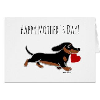 黒およびタンのダックスフントの母の日 グリーティングカード
