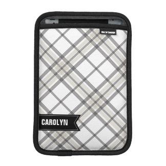 黒およびタンの格子縞のモノグラムのiPad Miniスリーブ iPad Miniスリーブ