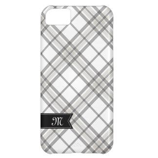 黒およびタンの格子縞のモノグラムのiPhone iPhone5Cケース