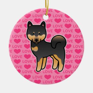黒およびタンの漫画の柴犬愛 セラミックオーナメント