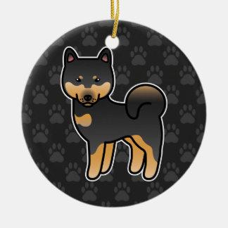 黒およびタンの漫画の柴犬 セラミックオーナメント