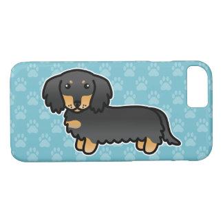 黒およびタンの長いコートのダックスフントの漫画犬 iPhone 8/7ケース