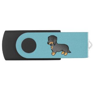黒およびタンの長いコートのダックスフントの漫画犬 USBフラッシュドライブ