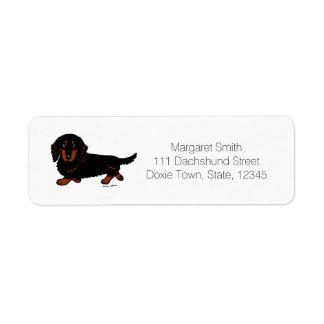 黒およびタンの長い髪のダックスフント1 返信用宛名ラベル