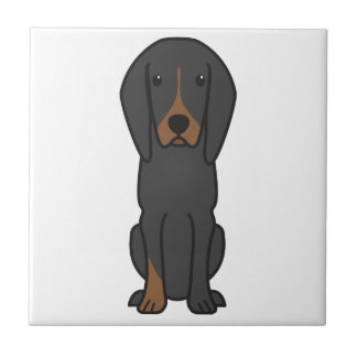 黒およびタンのCoonhound犬の漫画 タイル