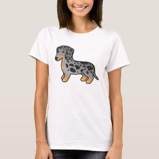黒およびタンは滑らかなコートのダックスフント犬をまだらにします Tシャツ