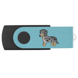 黒およびタンは滑らかなコートのダックスフント犬をまだらにします USBフラッシュドライブ