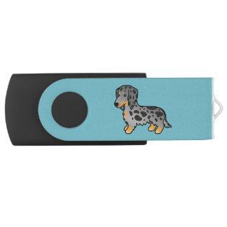 黒およびタンは長いコートのダックスフント犬をまだらにします USBフラッシュドライブ