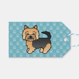 黒およびタンノリッジテリアの漫画犬 ギフトタグ
