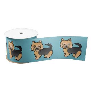 黒およびタンノリッジテリアの漫画犬 サテンリボン