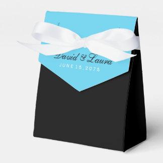 黒およびティール(緑がかった色)の青い結婚式 フェイバーボックス