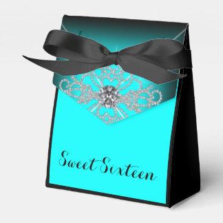 黒およびティール(緑がかった色)の青い菓子16の誕生会 フェイバーボックス