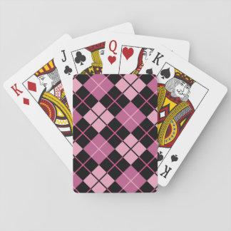 黒およびピンクのアーガイル柄のなパターン トランプ