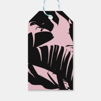 黒およびピンクの熱帯バナナの葉パターン ギフトタグ