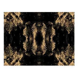 黒およびブラウンのシダパターン ポストカード