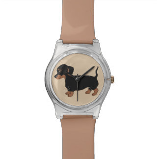 黒およびブラウンのダックスフントの腕時計 腕時計