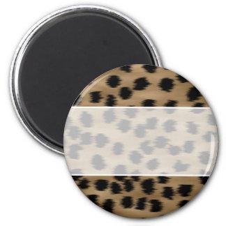 黒およびブラウンのチータのプリントパターン マグネット