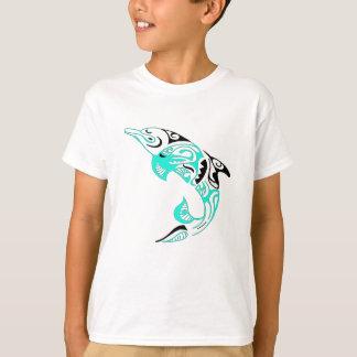 黒およびミントの種族のイルカの入れ墨のデザイン Tシャツ