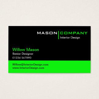 黒およびライムグリーンの法人企業カード 名刺