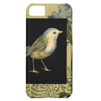 黒およびヴィンテージの背景の鳥 iPhone5Cケース