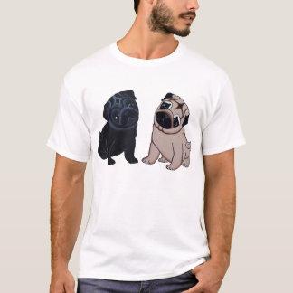 黒および子鹿のパグの子犬のTシャツ Tシャツ