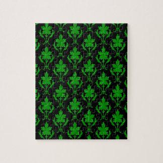黒および深緑色の華美な壁紙パターン ジグソーパズル
