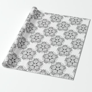 黒および白花柄デザイン2 ラッピングペーパー