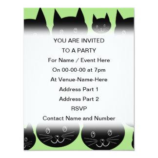黒および緑の猫のデザイン カード