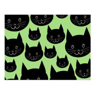 黒および緑の猫のデザイン ポストカード