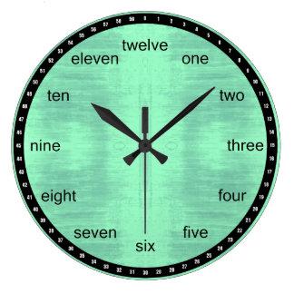 黒および薄緑の織り目加工パターン ラージ壁時計