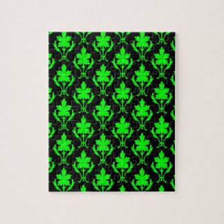 黒および薄緑の華美な壁紙パターン ジグソーパズル
