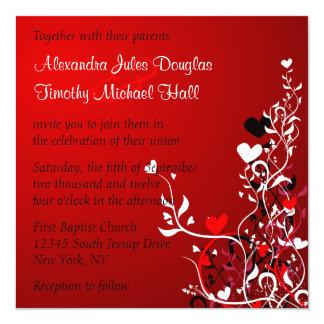 黒および赤いハートの渦巻の結婚式招待状 カード